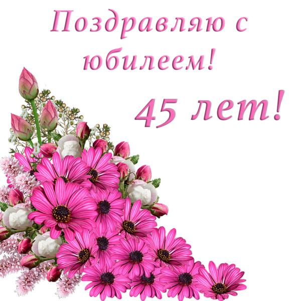 На 45-летие подруги красочная открытка