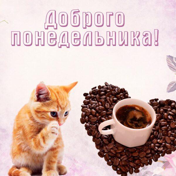 """Кофе и котик """"Доброго понедельника!"""""""