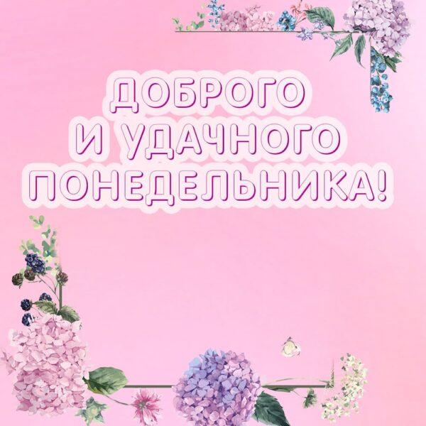 """Розовая открытка """"Доброго и удачного понедельника"""""""