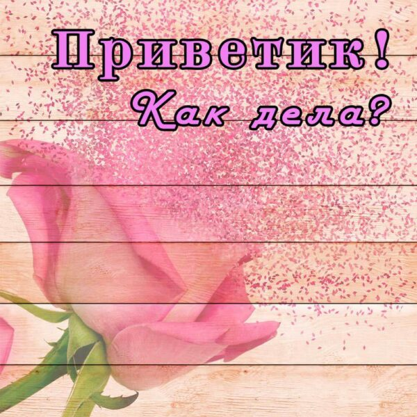 Розовая открытка - Привет, как дела?