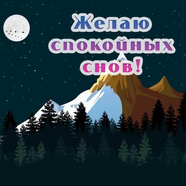 Открытка-пожелание на фоне ночных гор